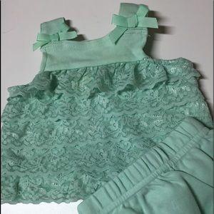 NB Starting Out Mint layered Lace dress w panties